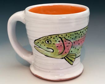 Trout Mug, Hand Painted Coffee Mug with Orange Interior, Fish Art, Pottery Fishing Mug, Fishing Gifts, Lake House Decor, Fly Fishing Art.