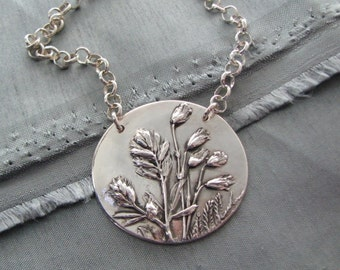 Listen No. 2 Necklace, Fine and Sterling Silver, Natural Plant Reproduction, Handmade Original, Exclusive by SilverWishes, Recycled Silver