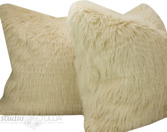 Fur PIllow Covers - Alpaca Fur - Set of Two - Faux Fur - 19X19 - luxury Shag - latte - Boho - ready to ship