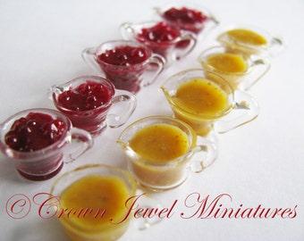 1:12 Turkey Gravy & Whole Cranberry Sauce Compotes by IGMA Artisan Robin Brady-Boxwell - Crown Jewel Miniatures