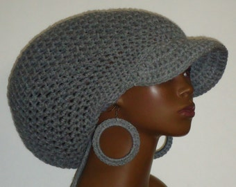 Made to Order Gray Crochet Large Brimmed Cap Hat with Drawstring and Hoop Earrings by Razonda Lee Razonda Lee