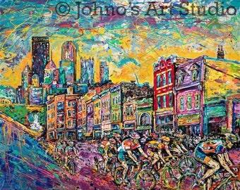 Bike Race art, Cycling art, Bicycle wall art, Pittsburgh, Kitchen art, Modern wall art, Metal prints, Pittsburgh Artist, Johno Prascak