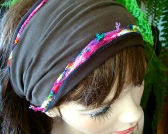 Womens Headband wide chocolate lycra /lace choose one