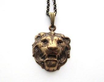 SALE small lion necklace . bronze lion necklace . panthera leo necklace