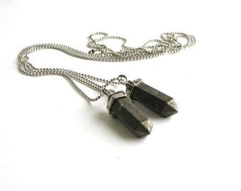 SALE mens pyrite pendulum necklace
