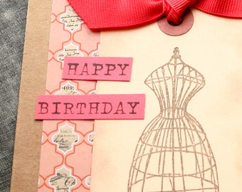 Birthday Card - Dress Form Seamstress Tailor Sew