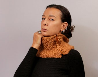 Knit Wool Scarf, Knit Snood Scarf, Collar Scarf, Cozy, Orange Knit Neck Warmer, Infinity Cowl Scarf, Chunky Cowl, Winter Cowl, Wood Buttons