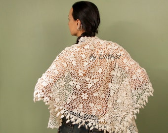 Ivory Bridal Shawl, Wedding Shawl, Bolero Shrug, Bridal Wrap, Lace Shawl, Cotton Crochet Shawl, Cape, Boho Fashion, Romantic Bridal Cover Up