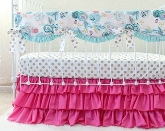 Whimsical Watercolor Aqua Pink and Gold Bumperless Baby Girl Bedding Set featuring Crib Rail Cover, Metallic Gold Accents, and Ruffle Skirt