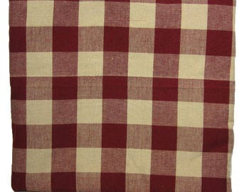 Burgundy/Cream Large Square Homespun Fabric - By The Yard- 100% Cotton - Quilting Fabric