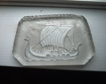 Glass Viking Ship Paperweight - Scandinavian - Vintage Ice Sculpture Crystal Figure