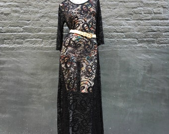 Vintage Black Lace Maxi Dress  small medium