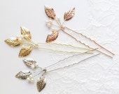 Gold Leaf Hair Comb,  Silver Leaf Hairpin, Gold Wedding Hair Accessory, Rose gold Bridal Hairpiece, Small Bridal Hairpin {HERA Hairpin}