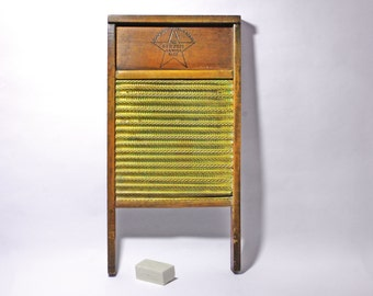 Vintage Snow Bird Brass Washboard, Brass Star Washboard - circa 1930's