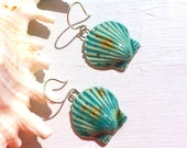 Aqua Green Ceramic Shell Earrings on Sterling Silver Wire