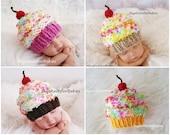 Knit Baby Cupcake Hat, Baby Hat, Knit Newborn Cupcake Beanie, Knit Baby Hat, Cupcake Baby Hat, Newborn Photo Prop, Children Photo Props