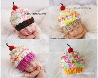Cupcake Hats, Cupcake Baby Hat, Newborn Girl Hat Newborn Boy, Children Hat, Baby Girl Cupcake Hat, Baby Boy Cupcake Hat, Newborn Photo Prop