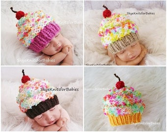 Knit Baby Cupcake Hat, Baby Hat, Knit Newborn Cupcake Beanie, Knit Baby Hat, Cupcake Baby Hat, Newborn Photo Prop, Children Photo Props