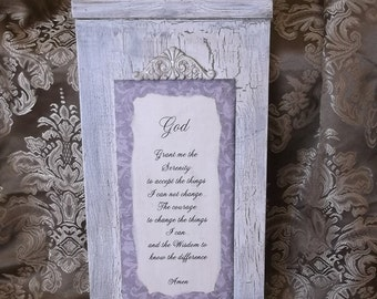 Large Serenity Prayer, wood prayer sign, shabby and chic, white and taupe brown, Prayer of Serenity