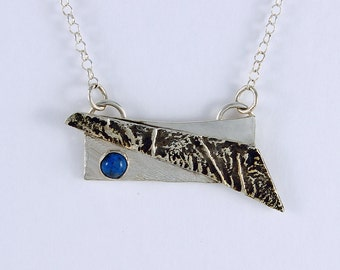 Handcrafted Sterling Silver Denim Lapis Pendant Totally Abstract One of a Kind Contemporary Artisan Jewelry Design 26345515123015