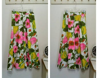 1960's Maxi Skirt, Bold Floral Print, Brocade Cotton Fabric, Size Small (See Measurements), #65070