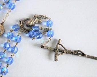 Vintage rosary.  Blue glass bead rosary.  Italian rosary beads