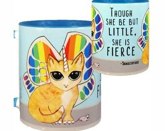 Rainbow Butterfly Unicorn Kitty Mug by Pithitude