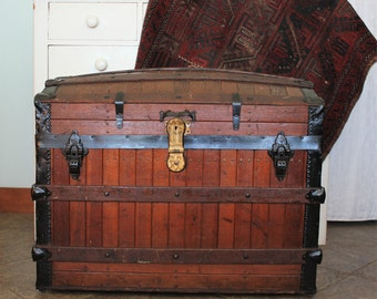FREE SHIPPING! Large Antique Oak Slat Wood Excelsior 1868 Dome Top Trunk