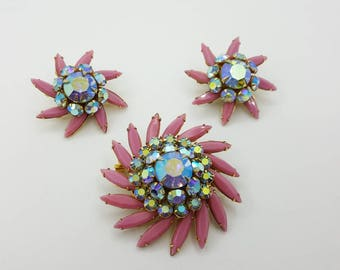 Judy Lee Contessa Brooch and  Clip earrings Retro Colorful