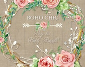 Watercolor Boho Rose Baby's Breath Wreath Digital Clip Art Clipart, Bohemian Printable, flower, Rose Floral, twigs, wooden, arrows, wedding