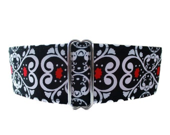 2 Inch Martingale Dog Collar, Red White and Black Martingale Collar, Christmas Martingale Collar, Sighthound Collar, Made in Canada