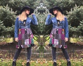 SALE Hippy Patchwork  Jacket, Size XS/S,festival jacket, patchwork blazer, eco jacket, upcycled jacket, hippy coat, denim jacket,Penny Lane