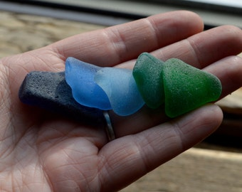 BLUE & GREEN SET -  Scottish Sea Glass Shards -  Sea Worn Jewellery Supplies - Scottish Beach Finds (6028)