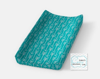Teal Arrow Change Pad Cover- Minky Arrow Cover- Arrow Bedding- Archer Nursery- Archer Changing Pad Cover- Minky Cover- Ships in 1-3 Days
