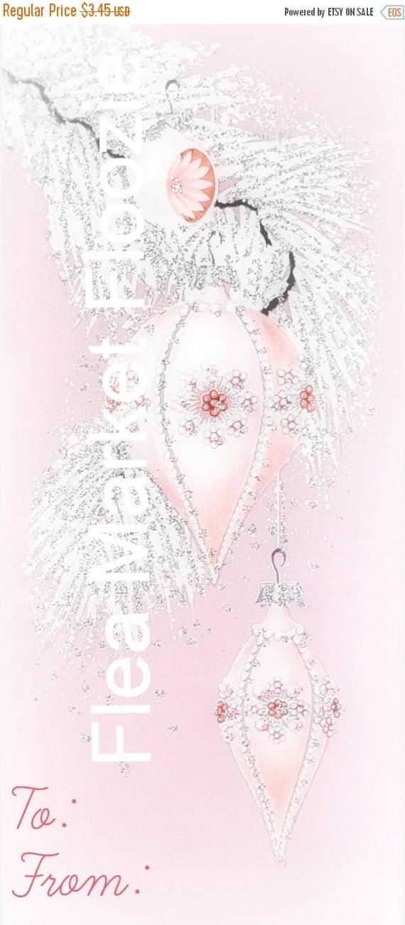 ON SALE Mid Century Christmas Image-Shabby Pink Shiny Brite-Shabby-Chic-Retro-Christmas Gift Tags