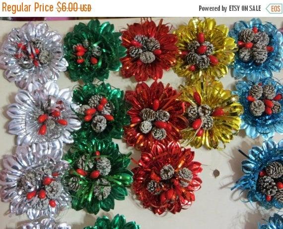 ON SALE Vintage Christmas Foil Flower Corsage Picks-Package Ties-Old Stock-Made in Japan