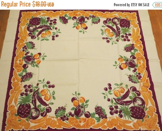 ON SALE Vintage Bright and Bold Fruit Tablecloth