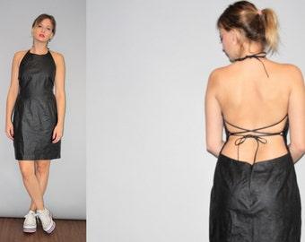 1990s Backless Minimalist Sexy Leather Supermodel Black Dress - 90s leather Dress - Vintage Corset Leather Dresses - W00258