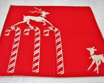 """Vintage Ladies Cotton Hanky Handkerchief Red White Reindeer Candy Cane Christmas Design Pattern 13.5"""" Square Never Used"""