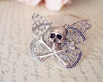 Inclementia-- skull and mothRing-adjustable-steampunk-Victorian-edgy chic VS037