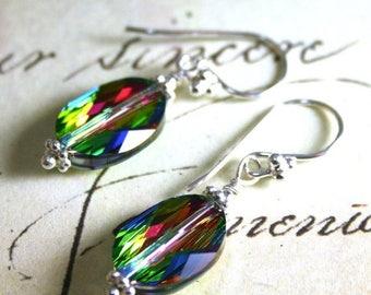 ON SALE Swarovski Crystal Drop Earrings in Rainbow - Sterling Silver and Swarovski Crystal Oval Beads in Vitrail Medium
