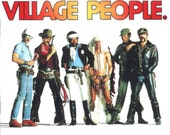 Village People inspired tokens, set of 8