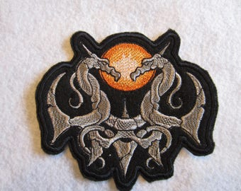 Embroidered Gothic Stone Dragons Iron On Patch, Dragon Patch, Goth, Iron On Patch, Dagons, Mideveil Dragons, Gothic