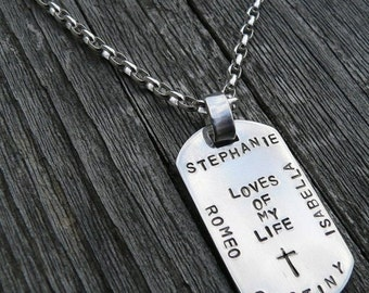 10 dollars off: Custom Thick Sterling Men's Dog Tag Necklace - Choice of 10 Fonts, Over 100 Symbols
