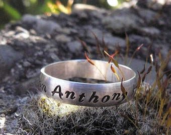 10 dollars off: Custom Stamped Domed Ring - Sterling Silver