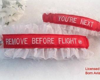 REMOVE BEFORE FLIGHT® Garter Set - Pilot Garter set - Air Force Wedding Garter set - You're Next Garter - Aviation Garters.