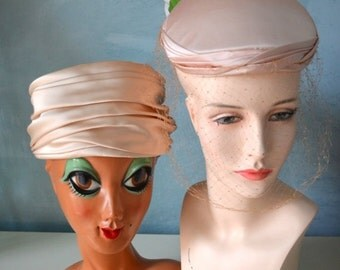 Sale 20% OFF Peach Pink Satin Ladies VINTAGE Hats LOT of Two Flowers/ Netting/Pillbox/Flower