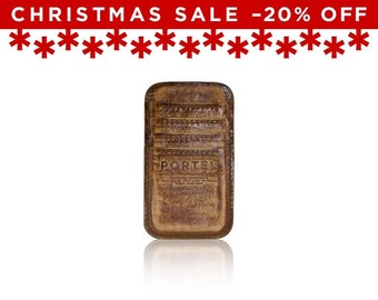 Christmas Sale -20% Off - - iPhone 6, iPhone 7 RETROMODERN aged leather pocket - - LIGHTBROWN