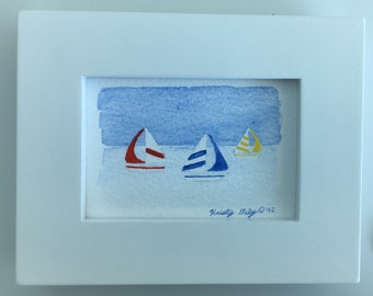 """Sailboats Watercolor - Giclee Print with Frame - 4"""" x 5"""""""
