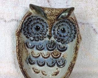 1970s Ceramic Owl Soap Dish Pottery Clay Bathroom Kitsch